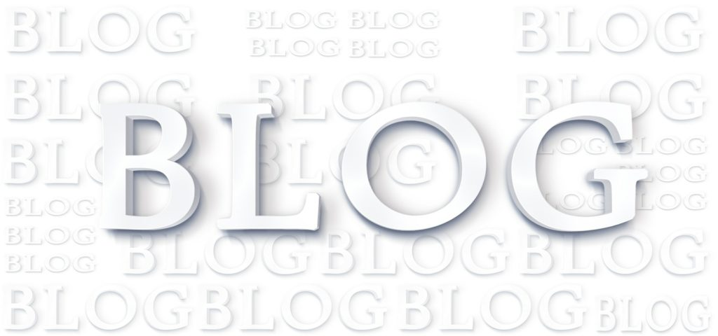 The word Blog in bold lettering