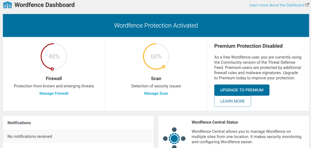 A screenshot of a security WordPress plugin dashboard