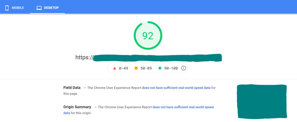 Screenshot of Google Page Speed Insights with a green score