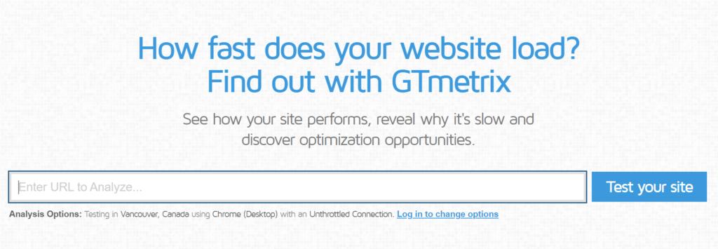 Screenshot of a site speed measuring tool