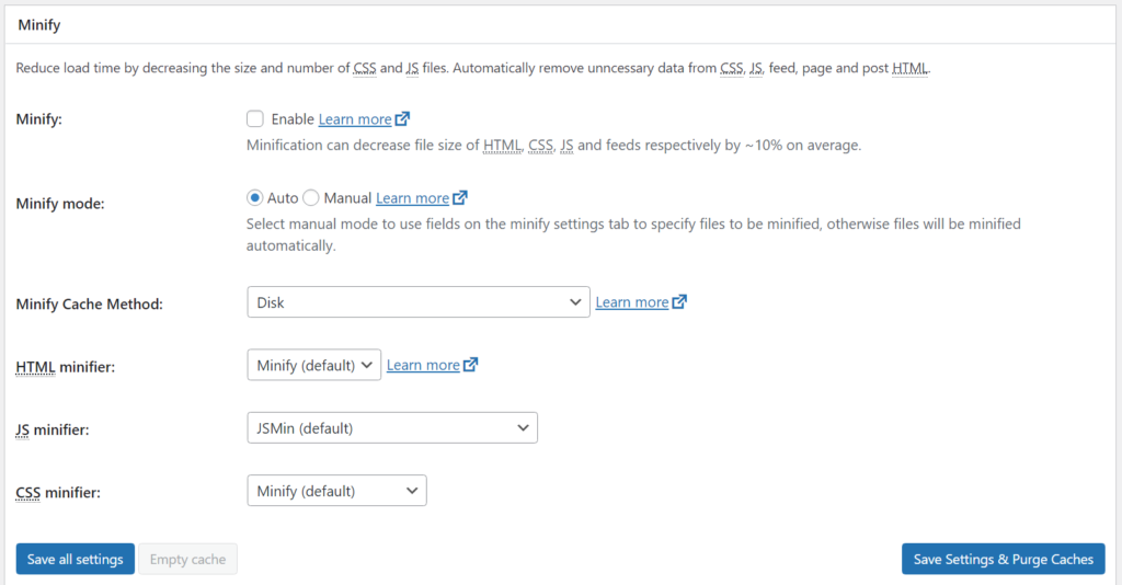 A screenshot of a caching plugin