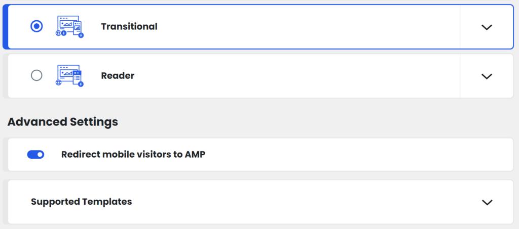 Screenshot of an AMP plugin settings page