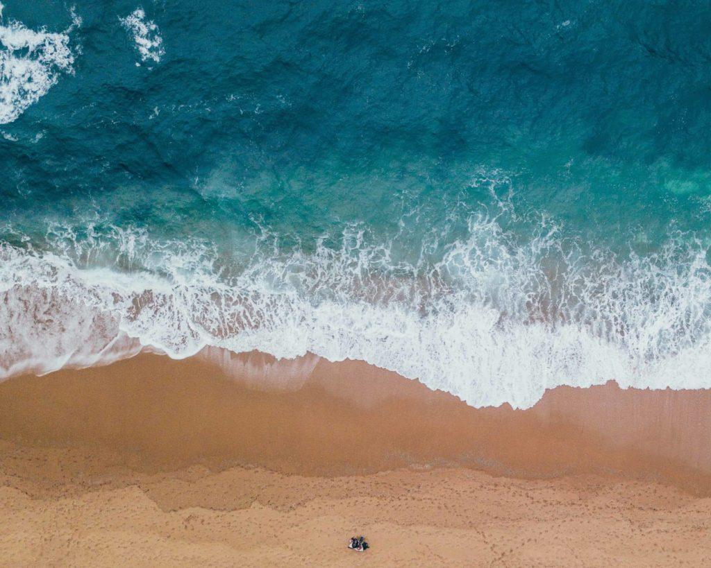 An aerial photo of a beach