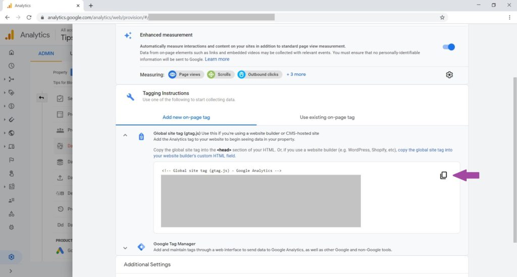 Copy the Google Site Tag