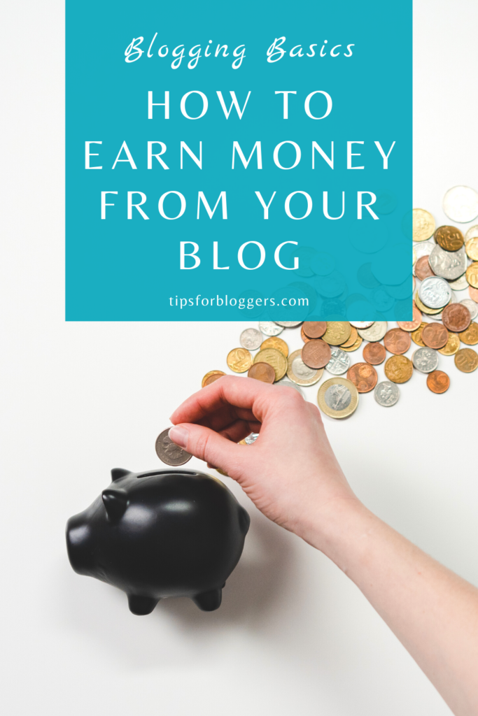 How to Earn Money from Blogging - Pinterest Graphic 1 showing a black pig money box and someone adding some coins in it