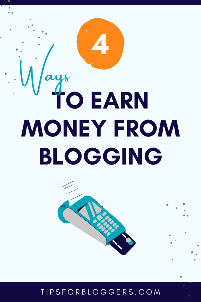 How to Earn Money from Blogging - Pinterest Graphic 2 showing a drawing of a card machine