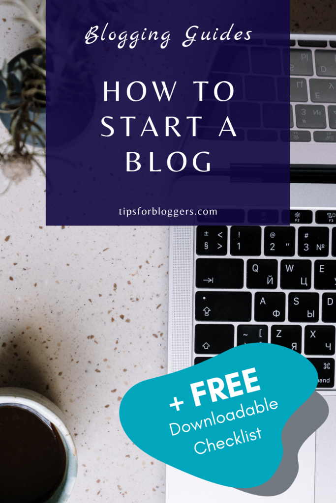 How to Start a Blog Pinterest Graphic 1 showing a laptop, a flower pot and a cup with black coffee