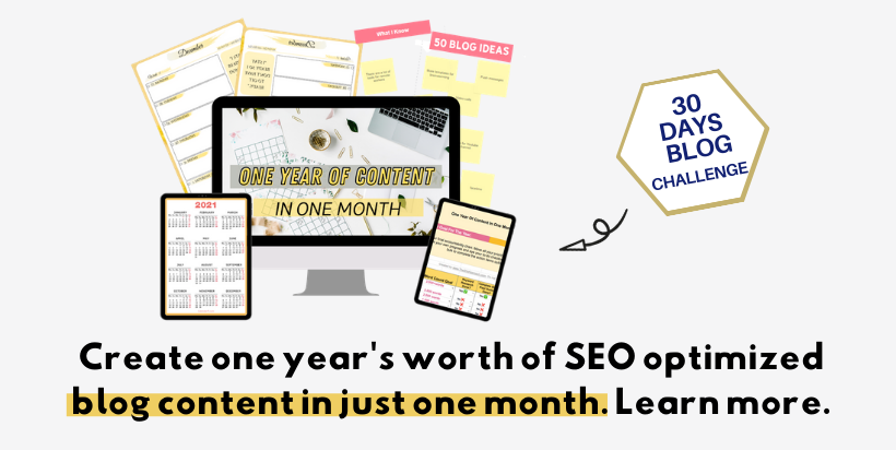 Banner for the She Approach - One Year of Blog Content in One Month Challenge