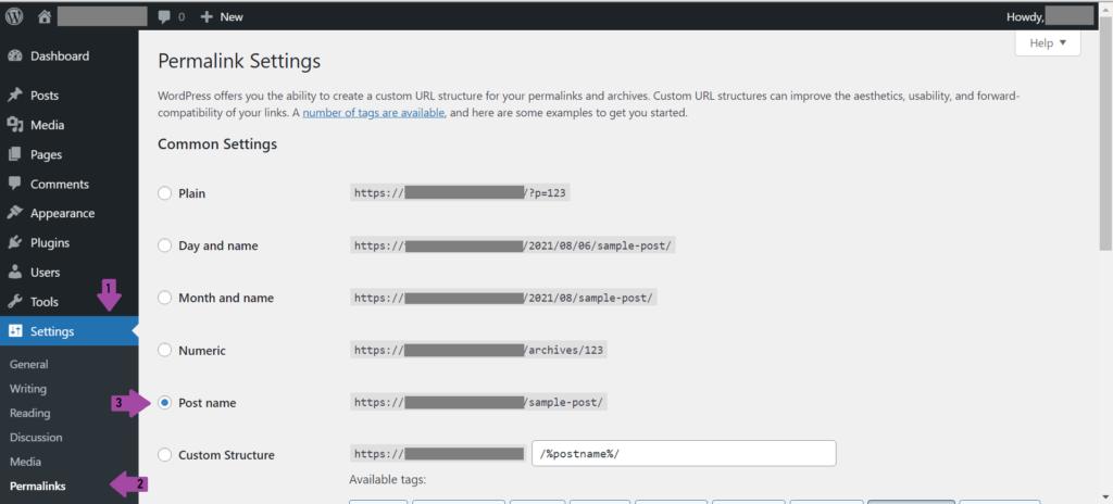 Screenshot of WordPress' Permalinks Settings Page